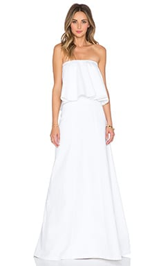 Alexis Ola Straples Flounce Gown in White