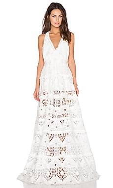 Nubia Open Back Crochet Dress in White Crochet