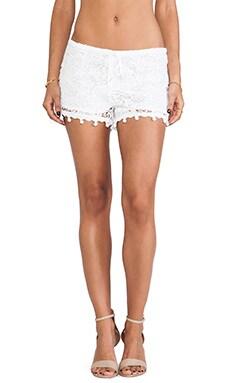 Alexis Debi Pom Pom Crochet Shorts in White Crochet