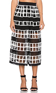 Alexis Albina Crochet Midi Skirt in Black & White