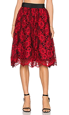 Alexis Lorelei Flare Skirt in Red Lace