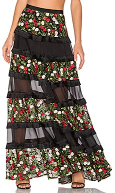 Carosini Skirt en Rose Embroidery Blossom