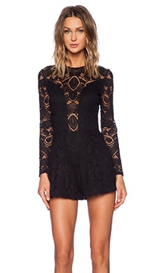 Alexis Messina Long Sleeve Romper in Black Lace