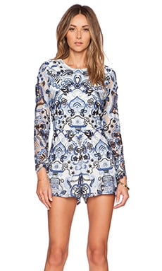 Alexis Rilay Chambre Embroidered Romper in Blue & White