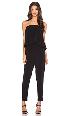 Esme Strapless Flounce Jumpsuit in Black