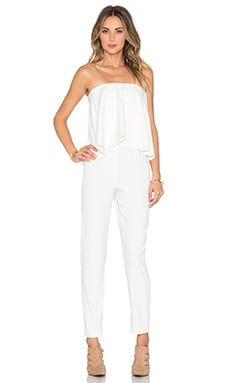 Alexis Esme Strapless Flounce Jumpsuit in Blanc
