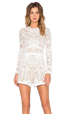 Alexis Garner Lace Fringe Romper in White Lace