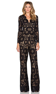 Jensen Long Sleeve Scallop Jumpsuit in Black Lace