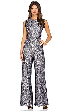 Alexis Livia Open Back Jumpsuit in Floral Lace