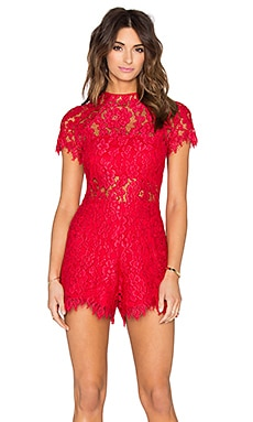 Alexis Lindsey Romper in Red Lace