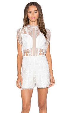 Alexis Lowe Romper in White Flower Embroidery