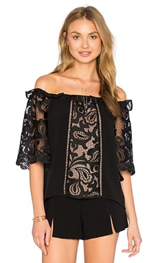Alexis Hee Top in Black Macrame