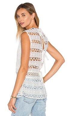 Alexis Georgette Top in White Embroidery