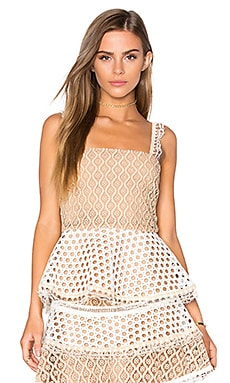 Alexis Lindor Peplum Top in Tan