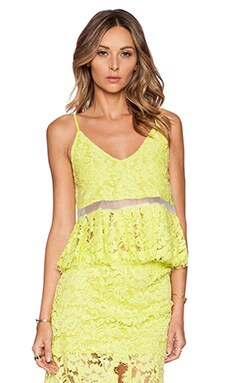 Alexis Jax Pleated Lace Top in Lime