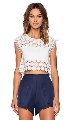 Alexis Stellan Crop Top in White Flower