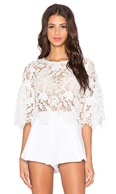 Alexis Valery Bell Sleeve Crop Top in White Lace