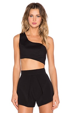 Alexis Liraz Asymmetrical Crop Top in Black