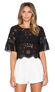 Alexis Alonso Pleated Sleeve Crop Top in Black Lace