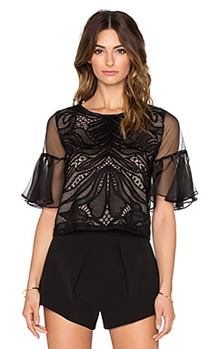 Alexis Leonard Organza Lace Sleeve Top in Black Lace