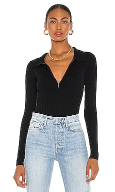 Ribbed Cashmere Collared Bodysuit Aya Muse $237