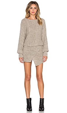AYNI Lupuna Asymmetrical Sweater Dress in Beige Melange