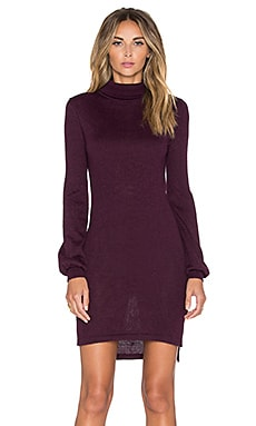 AYNI Onyx High Neck Sweater Dress in Burgundy