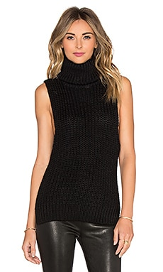 AYNI Sacha Sleeveless High Neck Sweater in Black