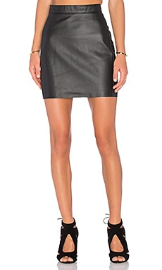 Zarre Leather Skirt em Preto