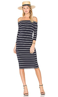 Galley Down Dress in Navy & Cream