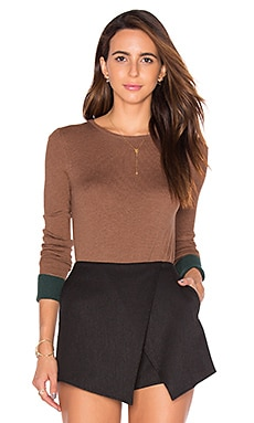 Highly Selective Sweater in Camel & Evergreen
