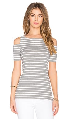 Striped Short Sleeve Deneuve Top en Heather Grey Stripe