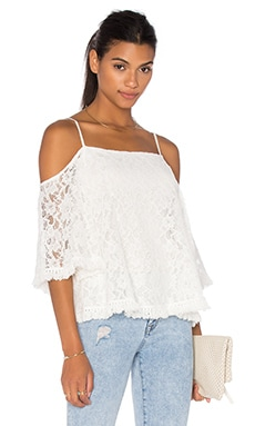 Lace Tusk Cold Shoulder Top in Cream