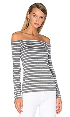 Stripe Jacqueline Top en Mercury & White Stripe