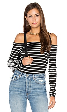 Stripe Jacqueline Top in Black & White Stripe