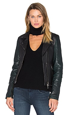 Sadie Leather Moto Jacket in Black & Emerald