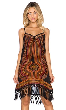 Band of Gypsies Printed Fringe Mini Dress in Black Red Gold