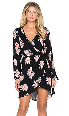 Band of Gypsies V-Neck Wrap Dress in Black & Pink