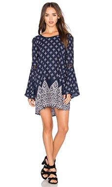 Band of Gypsies Printed Mini Dress in Navy & Ivory