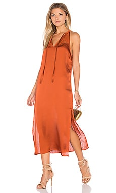 High Neck Midi Dress in Rust