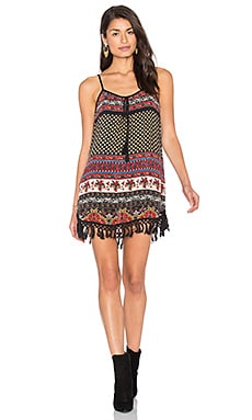 Band of Gypsies India Print Shift Dress in Black & Beige
