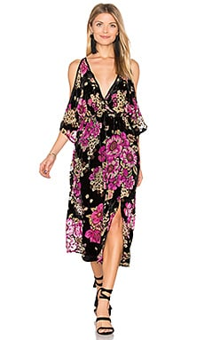 Maxi Dress in Black & Fuchsia