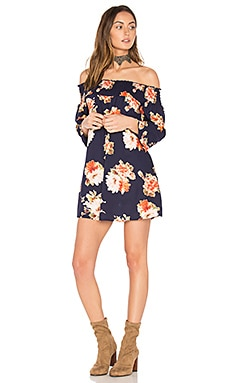 Off the Shoulder Dress in Navy & Coral