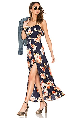 Button Front Floral Maxi Dress in Navy & Coral