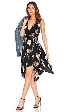 Floral Hanky Wrap Dress in Black & Rose