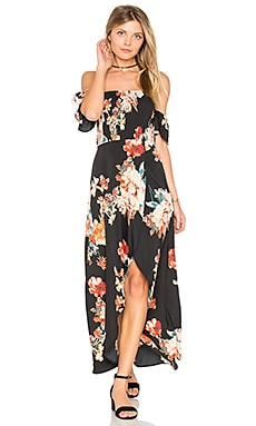 Large Floral Maxi Dress in Black & Coral