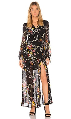 Abstract Floral Bouquet Wrap Dress