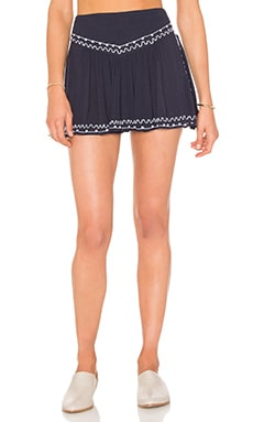 Embroidered Short in Navy & White