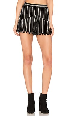 Pinstripe Pom Pom Short in Black & Ivory