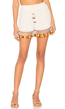 Tassel Trim Shorts in Ivory & Rust